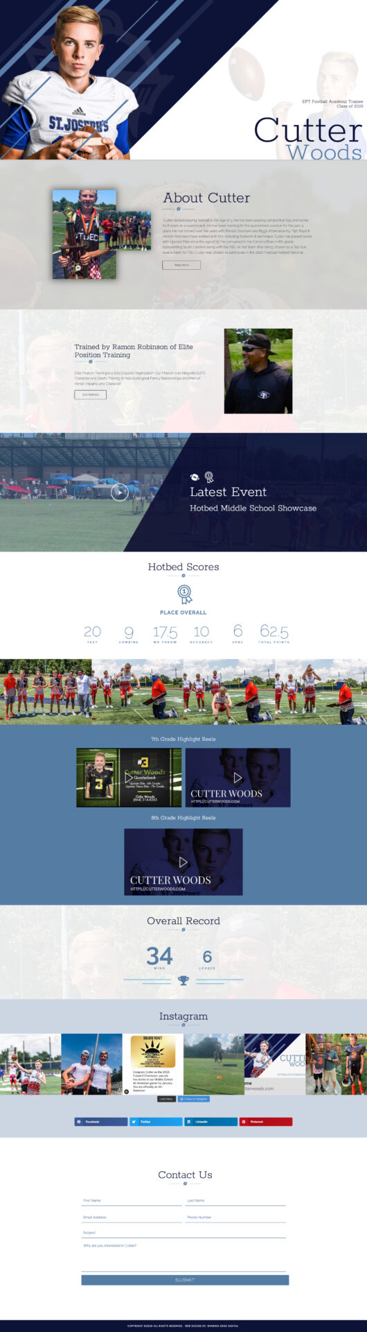 Player Personalized Website